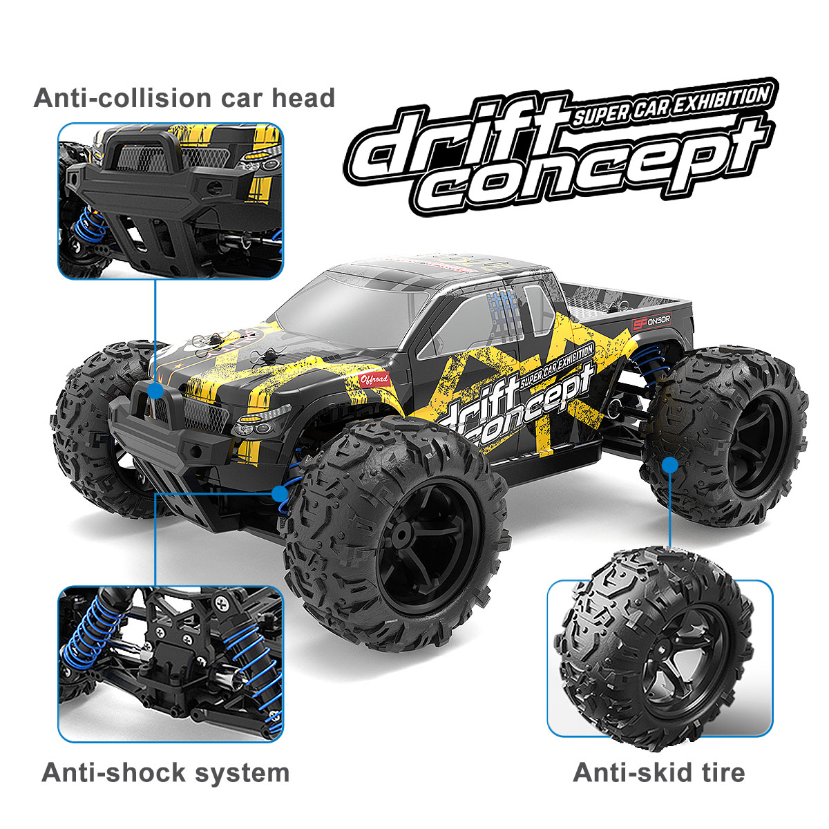 40+km/h Remote Control Car 1:18 <font><b>Scale</b></font> High Speed Off Road Vehicle Toys <font><b>RC</b></font> Buggy Drift Driving Car for Kids and Adults Gift image