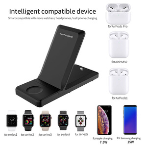 Image 3 - Kablosuz şarj istasyonu 3 in 1 katlanabilir standı Pad 15W Qi hızlı şarj Dock Airpods için Pro Apple izle 5 4 3 iPhone 11 XS XR 8