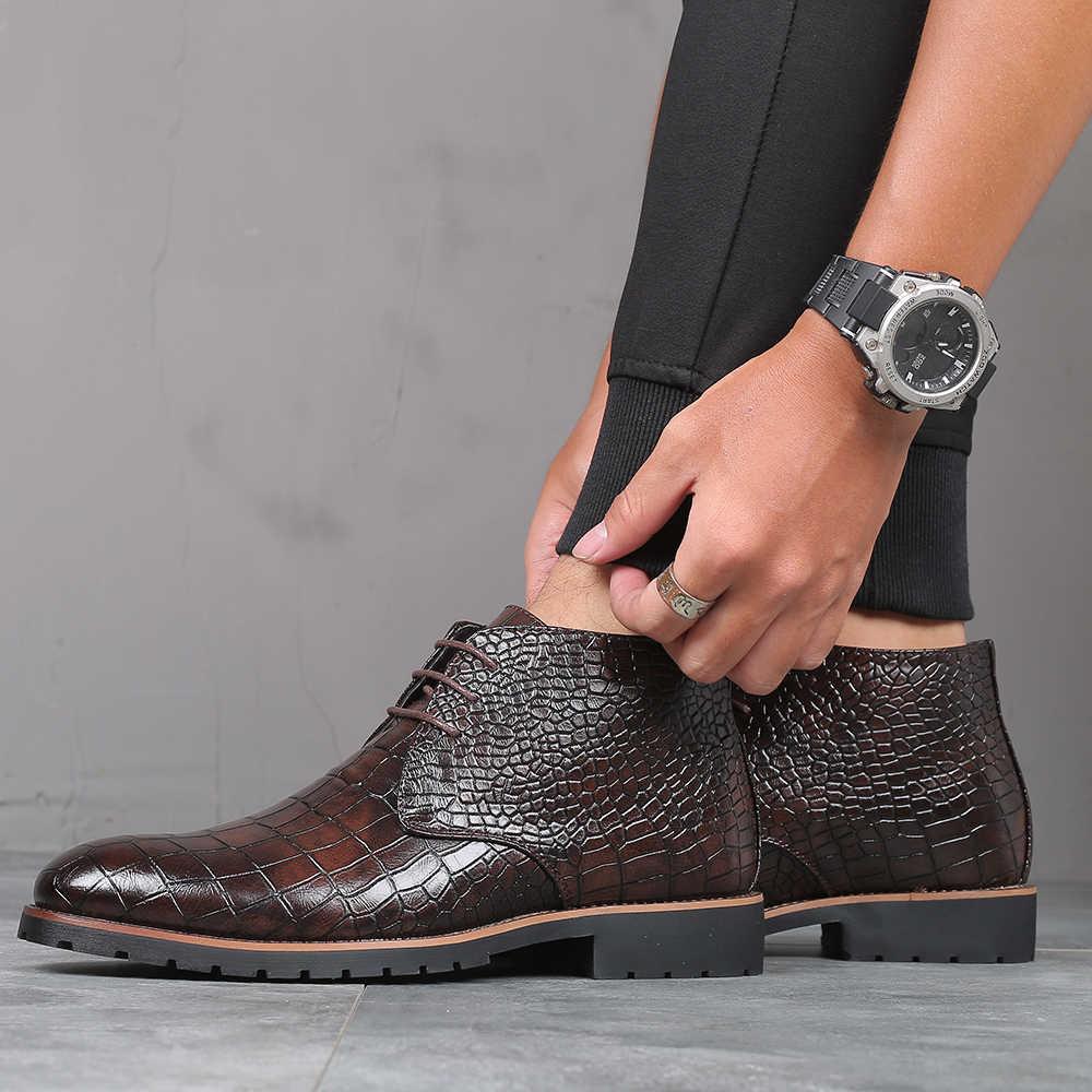 38-48 marque chaussures hommes de haute qualité beau confortable printemps bottes en cuir hommes #2353