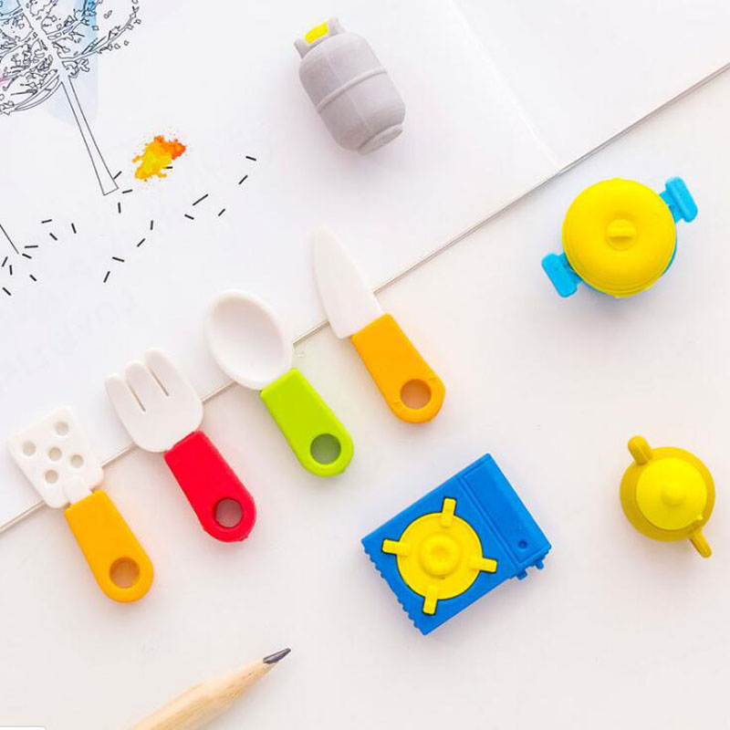 8 Pcs Kitchen Utensils Erasers Cartoon Kindergarten Toy Gas Tank Eraser Creative Funny Pencil Erasers Stationery School Supplies