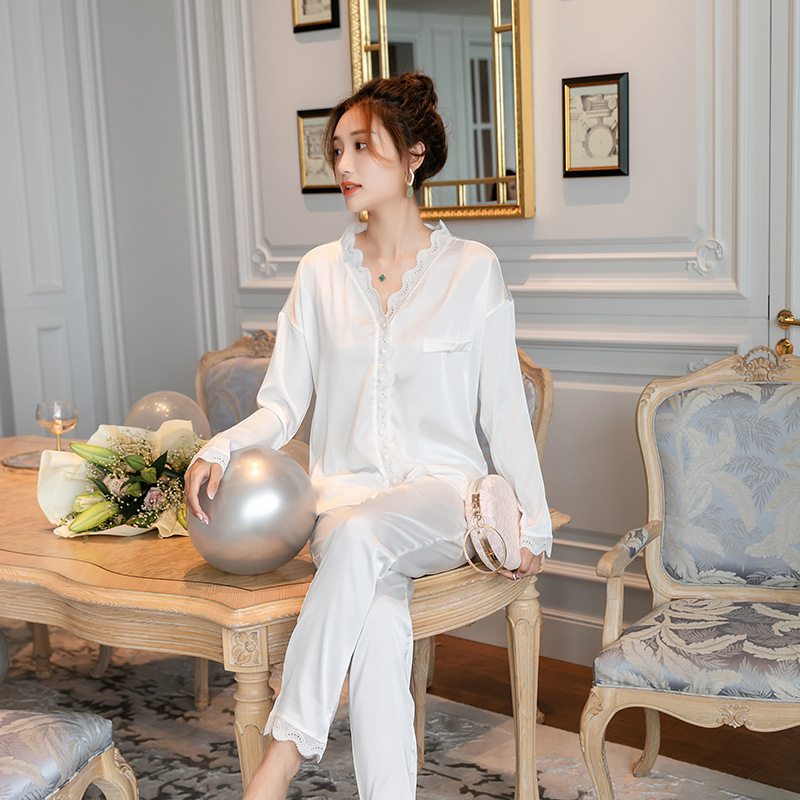 Womens Long Sleeve Lace Pajamas Suit Solid V-Neck Luxury Sexy Clothes Satin Nobility Home White 2 Piece Women Wear Sleepwear