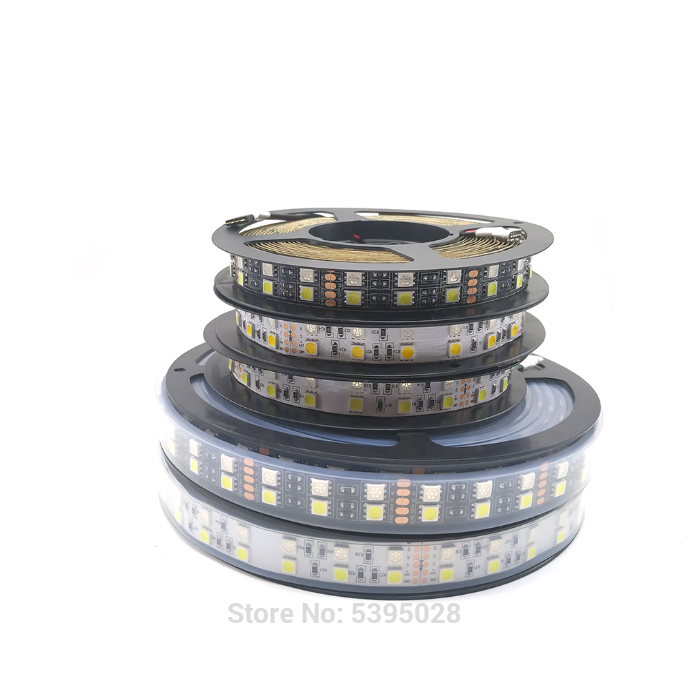 5050RGBwRGBwwDouble Row RGB <font><b>LED</b></font> <font><b>Strip</b></font> <font><b>Waterproof</b></font> 120LEDs/m 5M Black <font><b>White</b></font> PCB <font><b>LED</b></font> Light DC 12V 24V IP30/IP67 image