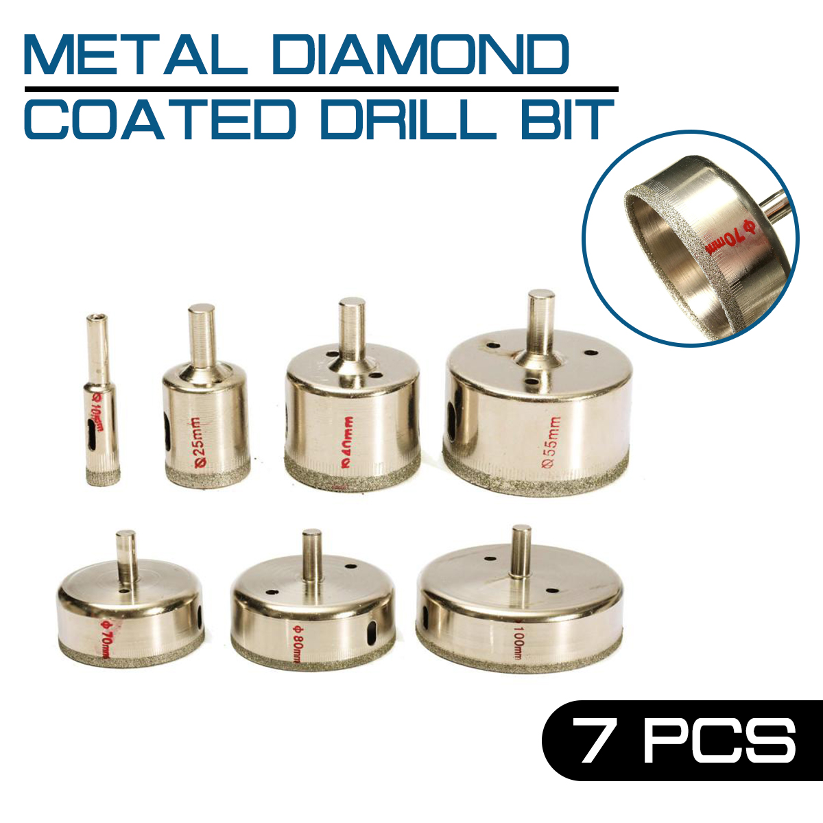 7Pcs Metal Diamond Coated Drill Bit Set 10-100mm Marble Core Hole Tile Glass Saw Tilling image