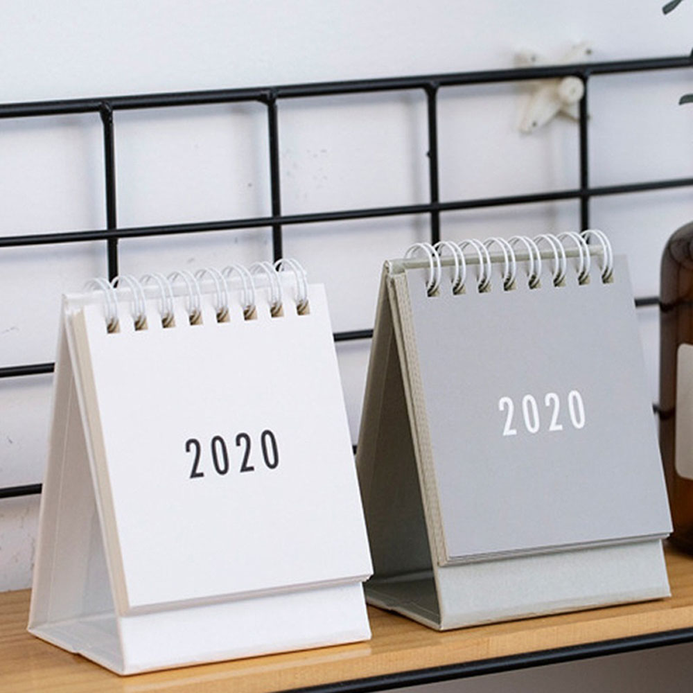 2020 Desktop Calendar Dual Daily Schedule Table Planner Yearly Agenda Organizer Office Simple Fashion Black White Grey Series