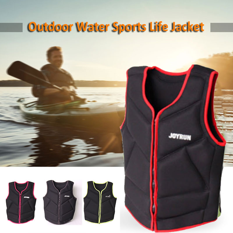 Sea Canoeing Fishing Vest Sailing Adult Black Buoyancy Rescue Fishing Life Jacket Neoprene Swimming Floating Jacket Detachable