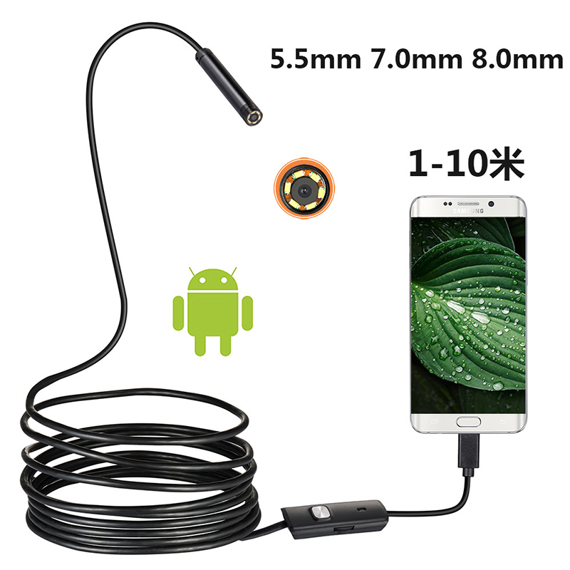 1/2m 5.5mm Endoscope Camera Waterproof USB Android Endoscope 6 LED Borescope Snake flexible Inspection Camera for Android PC image