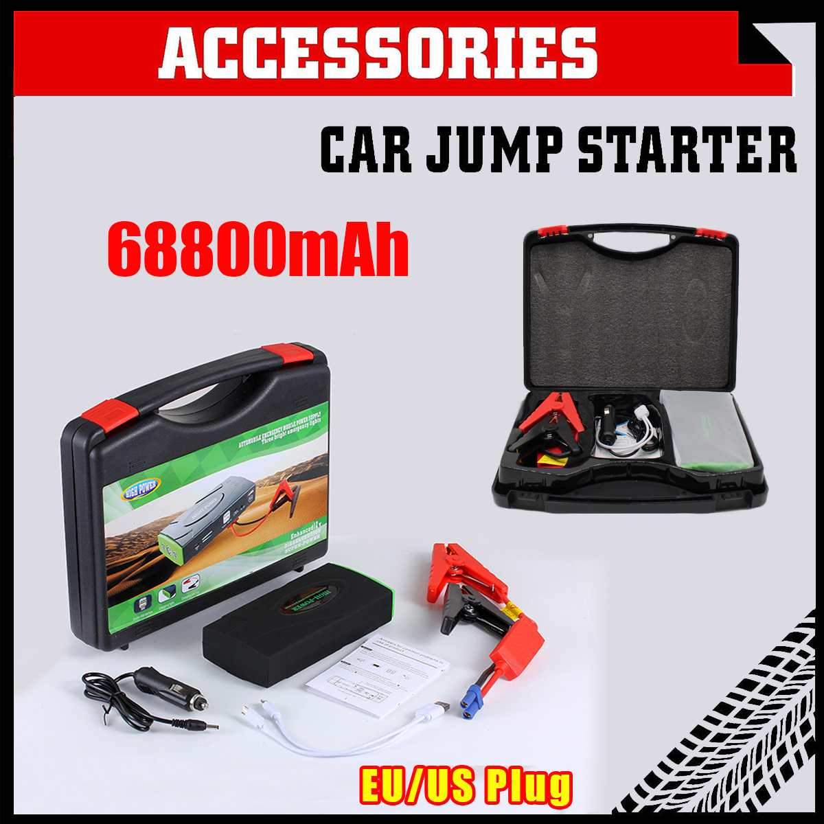68800mAh 12V 600A LED Multifunction Jump Starter Portable Car Battery Booster Charger Booster Power Bank Starting Device