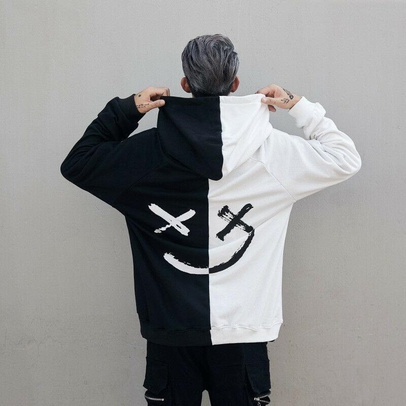 Unisex Hoodies Sweatshirts Men Patchwork Smile Print Hoodie Hip Hop Streetwear Women Dancing Hood Pullover Men Dance Sweatshirts
