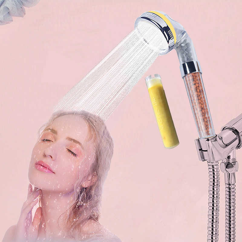Zhang Ji Autumn SPA Shower Head Vitamin C Scent Essence Rose Water Saving Anion Filter Water Softener Skin care Shower head 8cm