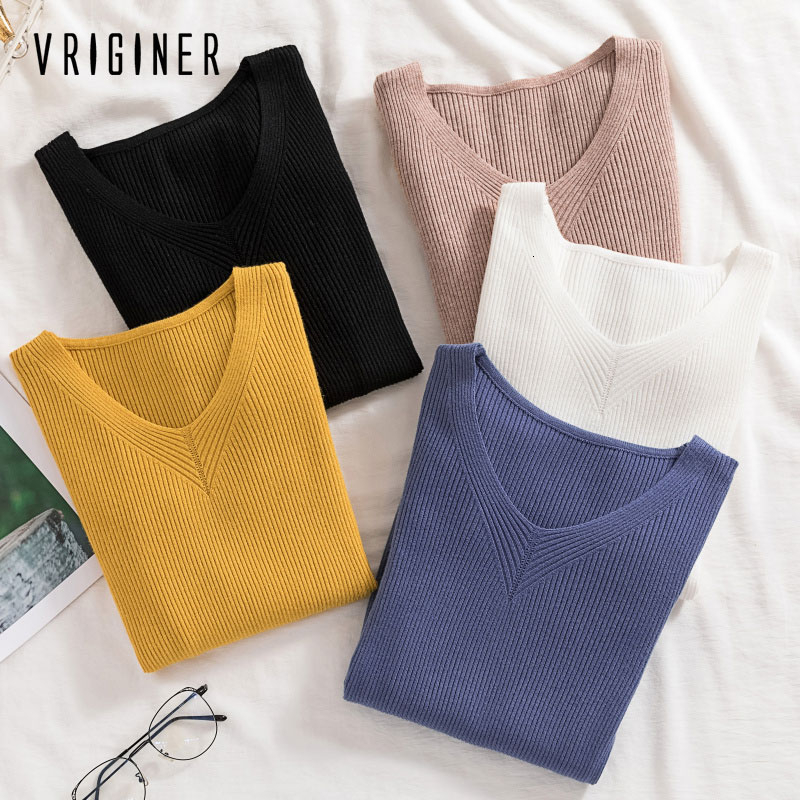 2020 Winter Tops For Women Sweaters  Pullovers Autumn Pullover Women V Neck Sweater Knitted Jumper Womens Sweaters
