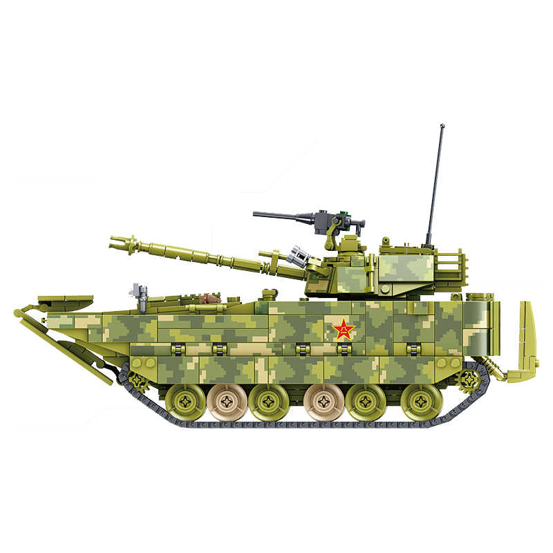 1285Pcs Locking Military Weapon Gun ZBD-05 Amphibious Infantry Fighting Vehicle Tank Model Building Blocks Birthday Gift Locking