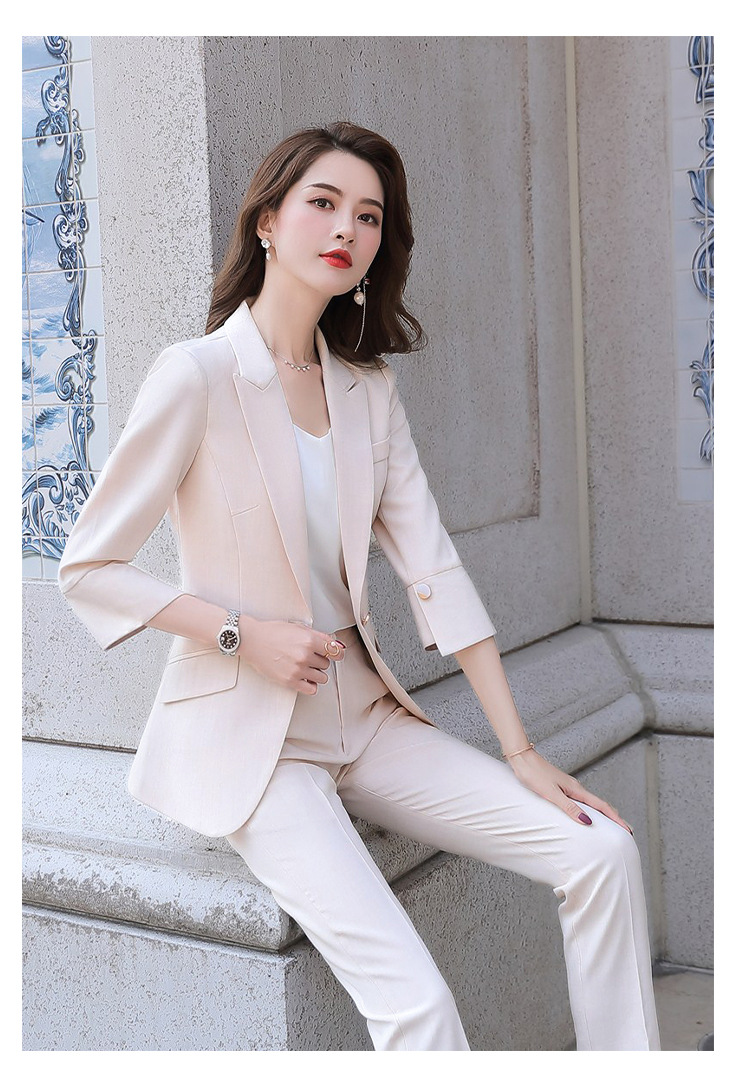 H8bb7aefabd2647de95402de5692ff6b8L - Black Apricot Female Elegant Women's Suit Set Blazer and Trouser Pant Business Uniform Clothing Women Lady Tops and Blouses