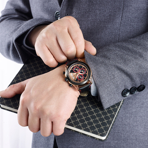 Image 5 - 크리 에이 티브 megir 크로노 그래프 남자 시계 relogio masculino 패션 가죽 석영 손목 시계 남자 시계 시간 육군 군사 시계