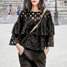 Vintacy Women White Blouse Shirt Plus Size Elegant Black Ruffle Sexy Blouses See Through Hollow Lace Fashion Ladies Tops Summer