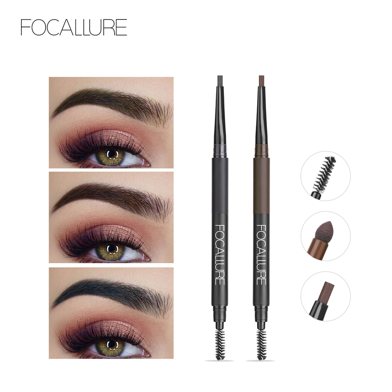 Focallure Eyebrow 3 in 1 Auto brows pen Long Lasting Waterproof Black Brown Pencil makeup