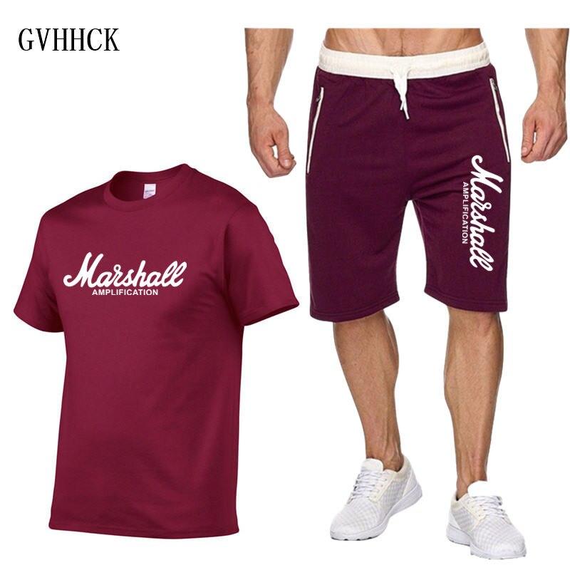 New Marshall Sets Amps Amplification Guitar Hero Hard Rock Cafe Tracksuit Men Short Set Brand Tshirt Men Beach Suit Fashion Suit