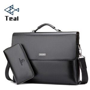 Image 1 - Mens Briefcase Portfolio Mens bag over the shoulder Laptop bags pu Leather Shoulder bag office Belt bag Messenger