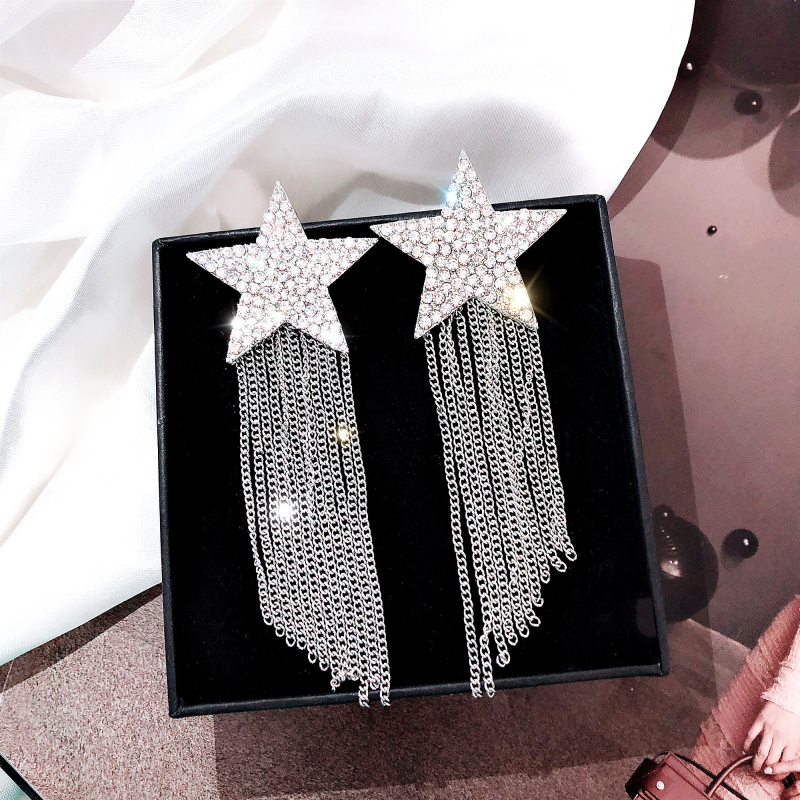 Dominated 2019 fine crystal Star shiny design Hyperbole style Korean Women Drop earrings contracted metal chain long tassel new(China)