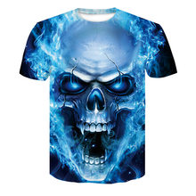 Summer Plus-sized Menswear Skull Printed Europe And America 3D Printed T-shirt Base Shirt Q24(China)