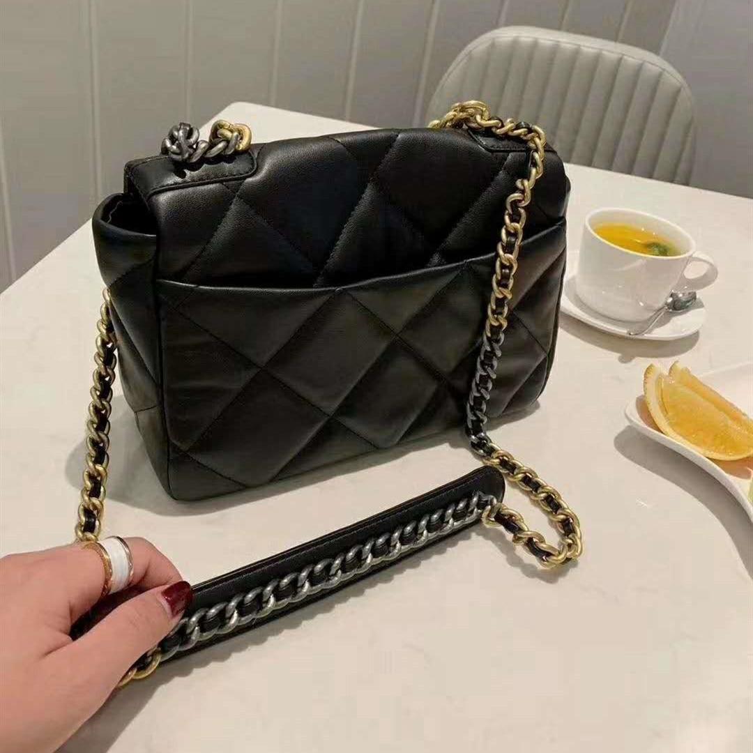 Women's Luxury Fashion Designer Genuine Leather Soft Diamond Lattice Shoulder Bag Chain Flap Crossbody Bag Handbag Clutch