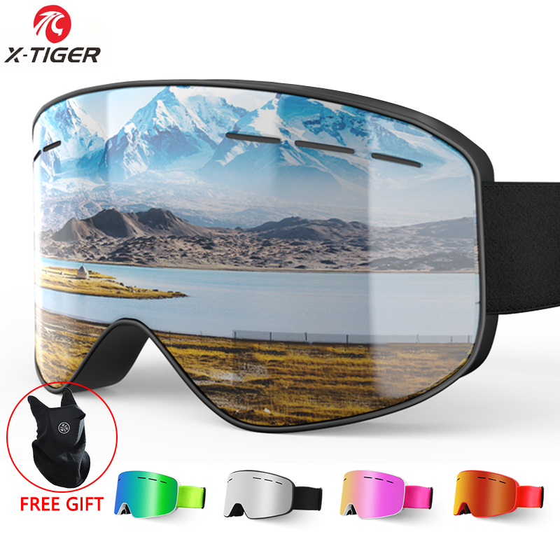 X-TIGER Brand Snow Snowboard Goggles Men Women Ski Goggles Double Layers 100% UV400 Anti-fog Big Ski Mask Glasses Skiing Glasses