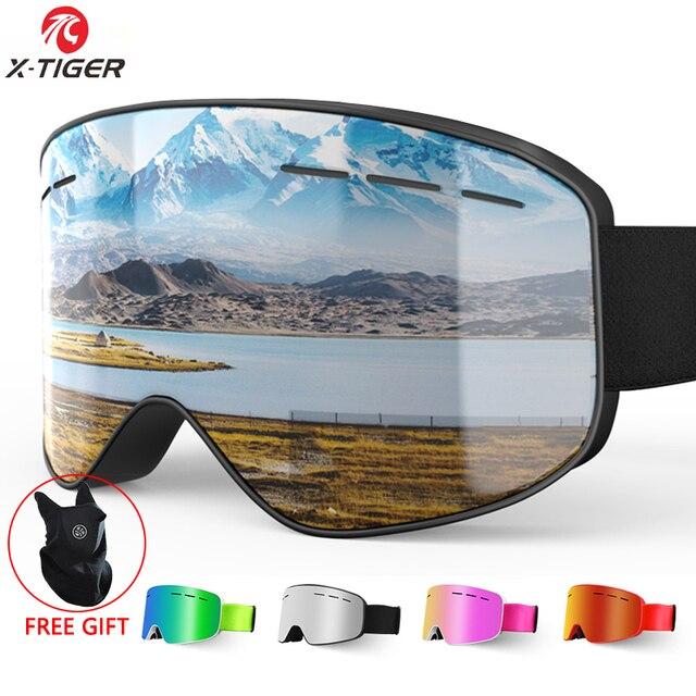 X TIGER di Marca da Neve Snowboard Occhiali Delle Donne Degli Uomini di Occhiali da Sci Doppi Strati 100% UV400 Anti Fog Grande Maschera da Sci Occhiali occhiali da Sci
