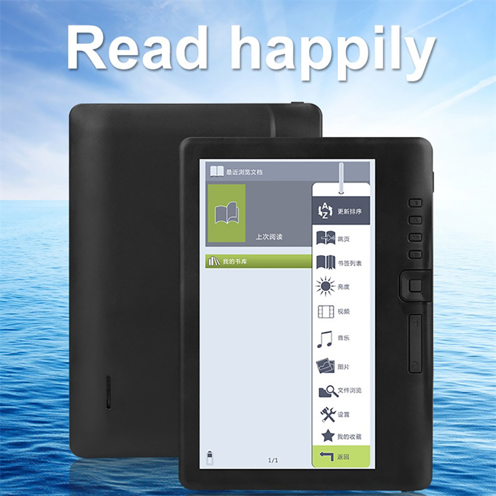 7 inch E-book reader Electronic ink Screen Built-in Front Light e Book Reader with global Multi-language Support micro sd image