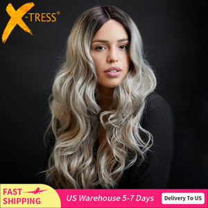 X-TRESS Ombre Grey Color Natural Wave Synthetic Lace Front Wig Black Green Medium Length Lace Wig For Black Women Heat Resistant