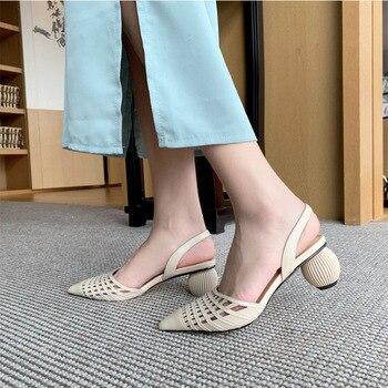 ¡NOVEDAD DE VERANO 2020! Sandalias de tacón con forma de huevo para mujer, zapatos de verano con punta hueca de cuento de hadas y tacón grueso para el aire, zapatos para documentar