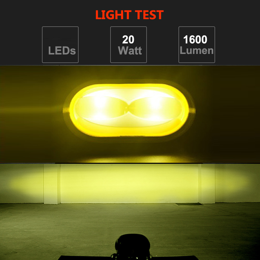 6D Lens Car LED Working Lights Yellow Light Color 12V Or 24V Universal Car Headlight Decoration Car Accessories Car Light
