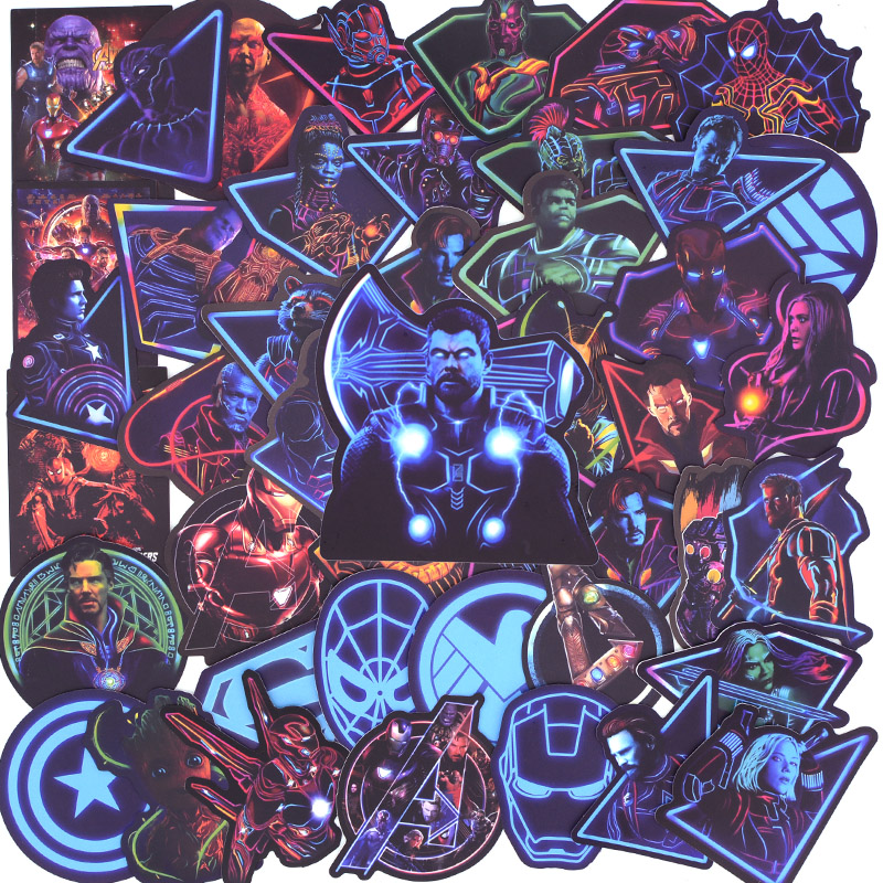 50 PCS Neon Super Hero Avengers Stickers For Luggage Laptop Decal Skateboard Stickers Bike Motorcycle Fridge Bomb JDM Sticker