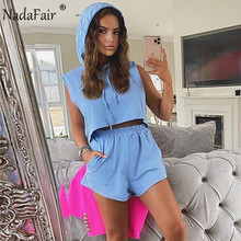 Nadafair Hooded Crop Tops And Mini Shorts Two Piece Set Wome
