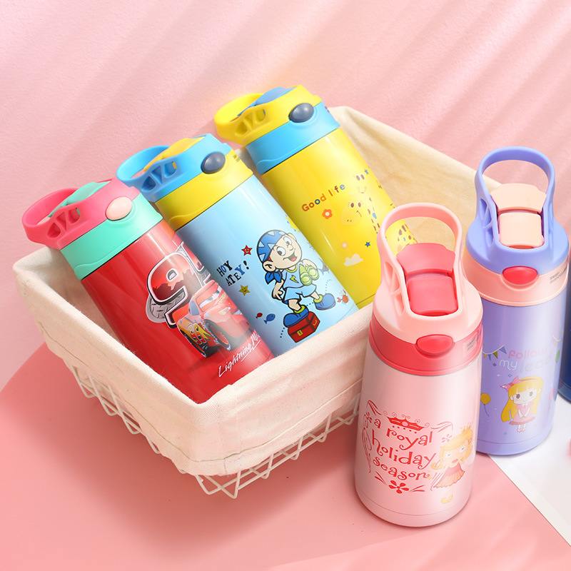 400ML Baby Thermos Vacuum Flask with Straw Stainless Steel Insulation Cup for Kids Thermos Flasks Cartoon Baby Water Bottle