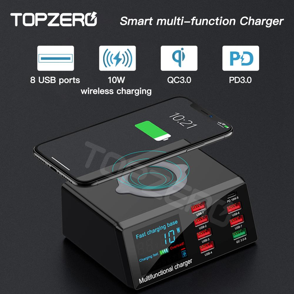 TOPZERO 100W Wireless USB Charger Dock 18W PD QC3.0 Fast Charge Station Smart LED Display 8 Ports USB Adapter For Android IPhone