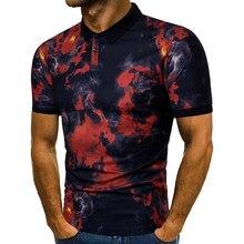 new style men's flame T-shirt summer fashion short-sleeved turn-down collar simple shirt trendy men's T-shirt