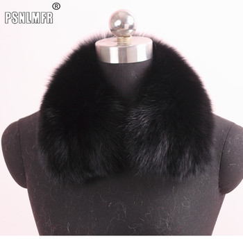 Wholesale Women and men natural fox fur square collar for winter coat fashion luxury unisex real fox fur scarves neckwear image