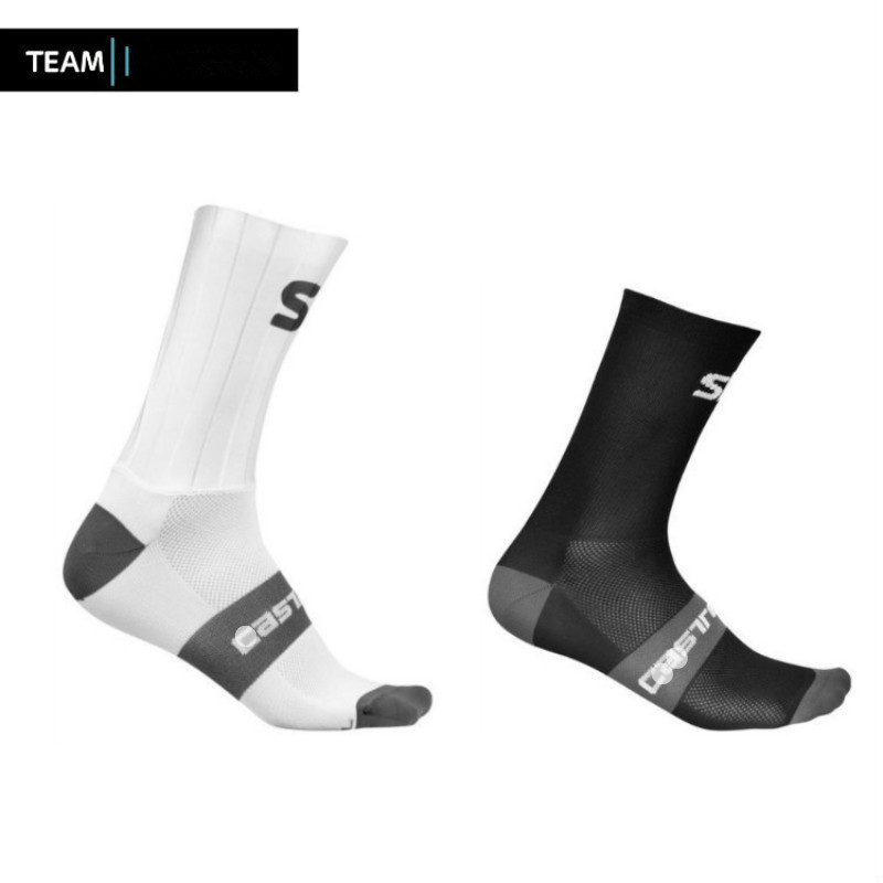 Team Summer Anti Slip Silicone Aero Cycling Socks Integral Moulding High-tech Bike Socks Compression Bicycle Running Sport Socks