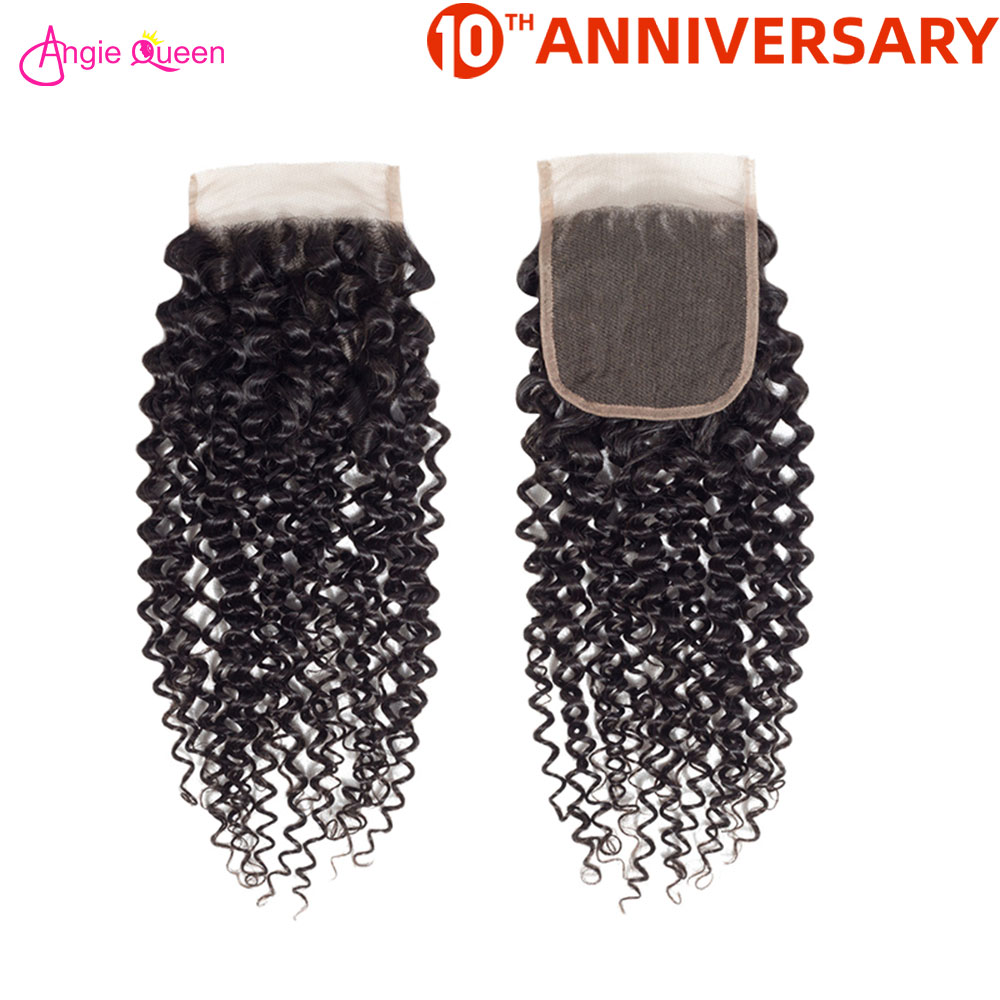 ANGIE QUEEN Brazilian Hair Kinky Curly Non Remy Human Hair Closure Deal Natural Black Remy Hair Lace Closure 8 To 20 Inches 150%