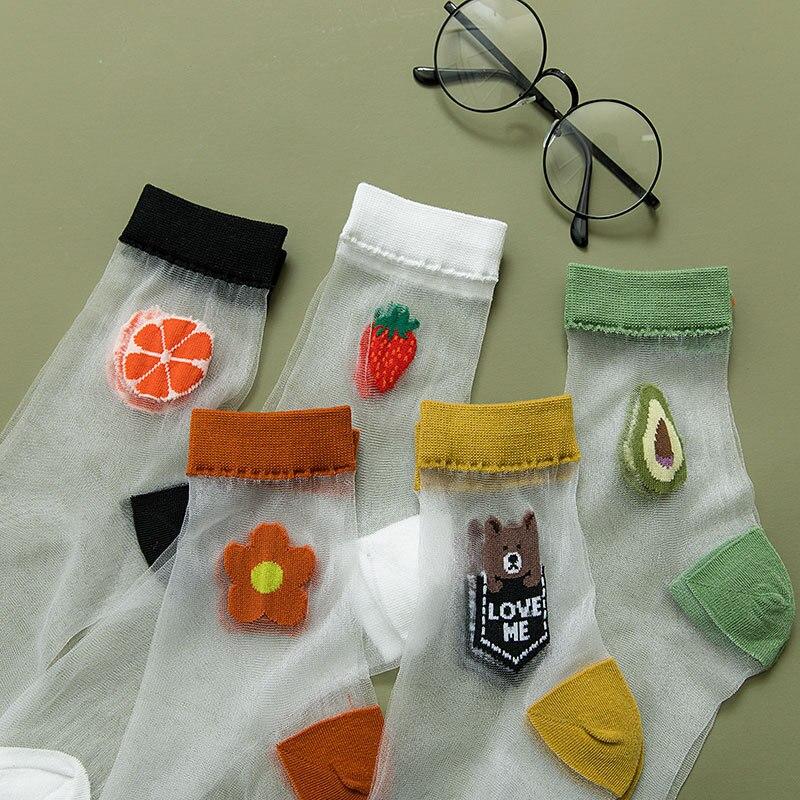 New Spring Summer Woman Socks Glass Fiber Skarpetki Thin Air Calcetines Japanese Harajuky Kawaii Fruits Socks Women Meias 30403