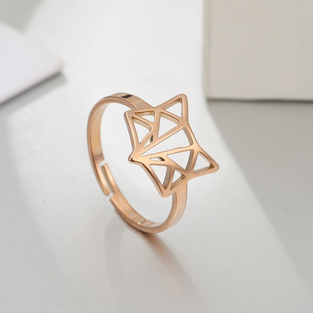 Skyrim Fox Ring Stainless Steel Animal Resizable Rose Gold Color Finger Rings Jewelry Wedding Anniversary Gifts for Women Friend