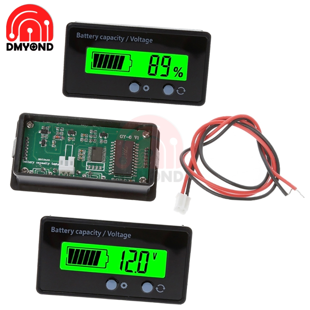 Green DC 6V-73V Battery Capacity Indicator Meter Battery Power LED Digital  Lithium Lead Acid Battery General Electricity Meter