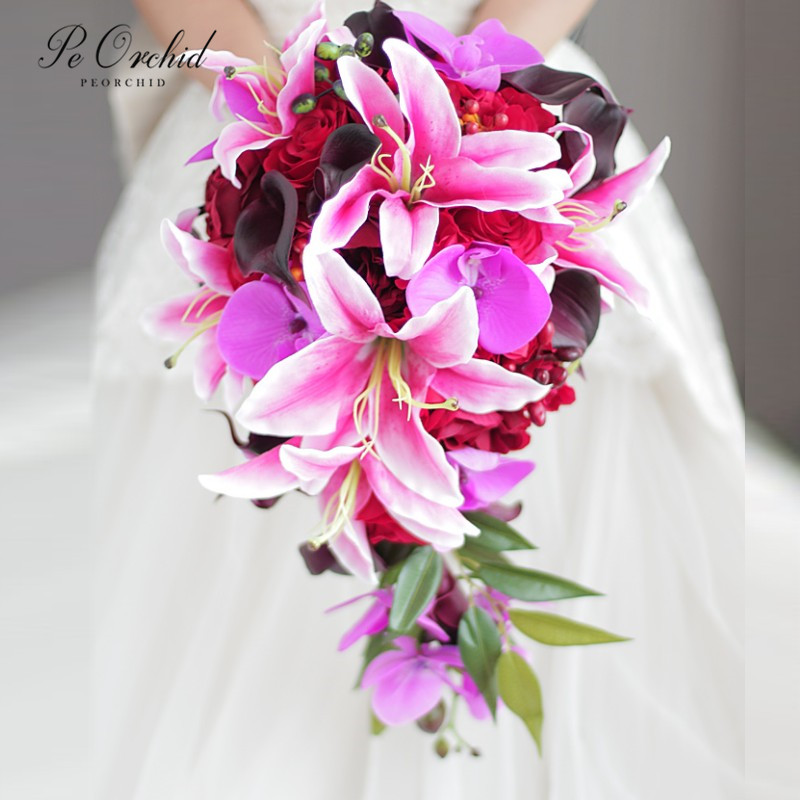 PEORCHID 2020 Red Pink Lily Rose Waterfall Wedding Bouquet Silk flower Decoration Artificial Teardrop Bouquet For Brides Custom