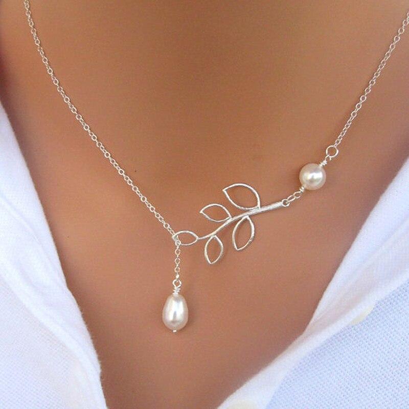 NK607 новинка, Панк мода, минималистичный кулон в виде двух листьев, ожерелья для ключиц для женщин, ювелирное изделие, подарок, кисточка, летняя пляжная цепочка, колье - Окраска металла: 617