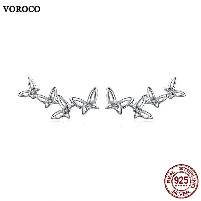VOROCO Stud-Earrings 925-Jewelry 925-Sterling-Silver Butterfly Women Wedding for Fashion