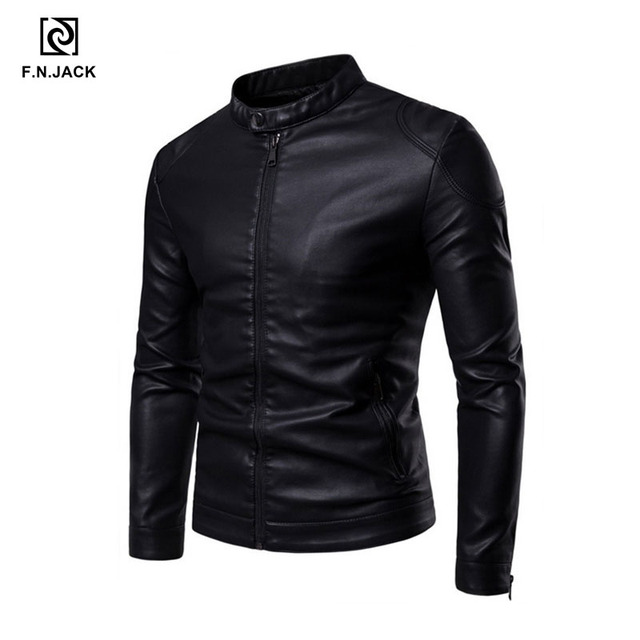 F.N.JACK Leather jacket men Ghost Rider Winter jacket Long Sleeve Motorcycle Jacket  Faux leather Chaqueta de cuero para hombre