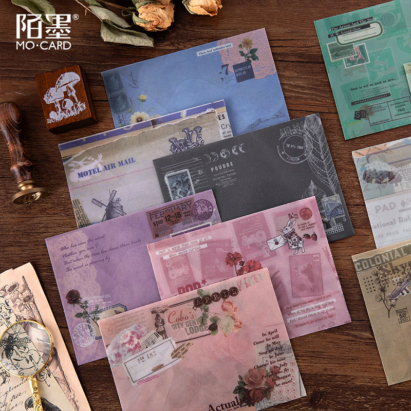 3pcs/pack Retro Flower Letter Series Translucent Envelope Message Card Letter Stationary Storage Paper Gift 15*11cm