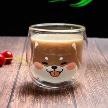 200ml coreano bonito shiba inu canecas duplo vidro café da manhã caneca de leite criativo animal xícara de café senhoras copos de suco