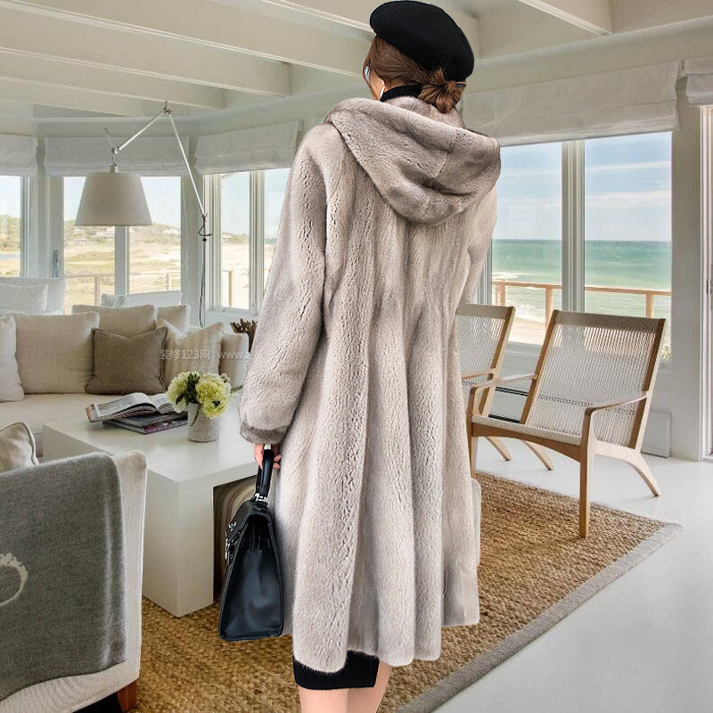 Hooded Plus Size Winter 2020 Fur Outerwear Women Solid Long Fur Coat High-end Warm Mink Fur Jacket New Fashion Coats Parka Femal