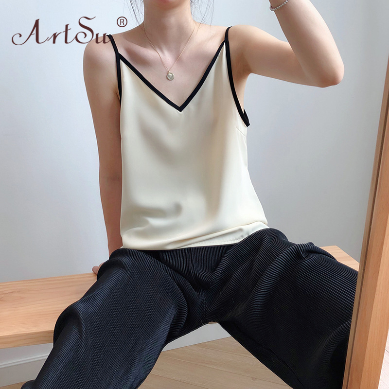 ArtSu Color Block V Neck Fashion Korean Style Cami Bustier Summer Tops Chiffon Shirt Women Sexy Black Tank Tops Camisole Casual 2