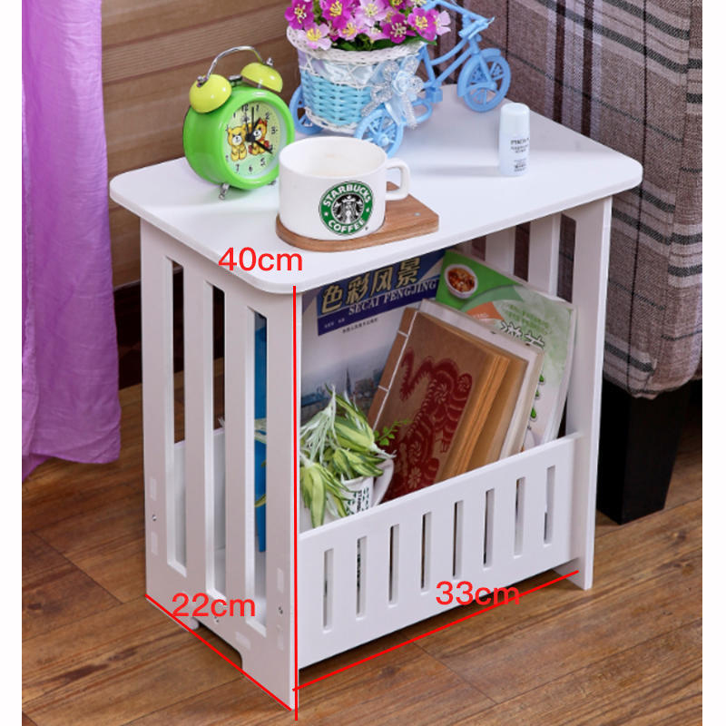 Pvc White Tea Coffee Table Small Square Side Table For Living Room Hollow Office Magazine Storage Shelf Home Decor Cabinet
